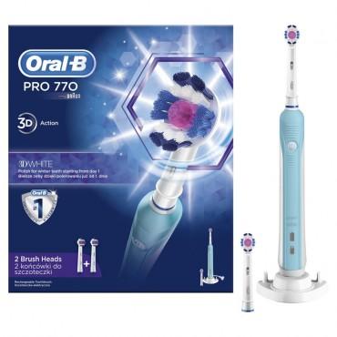 ORAL-B PRO 770 3D ELEKTROMOS FOGKEFE, 3D WHITE FEJJEL, KÉK-FEHÉR