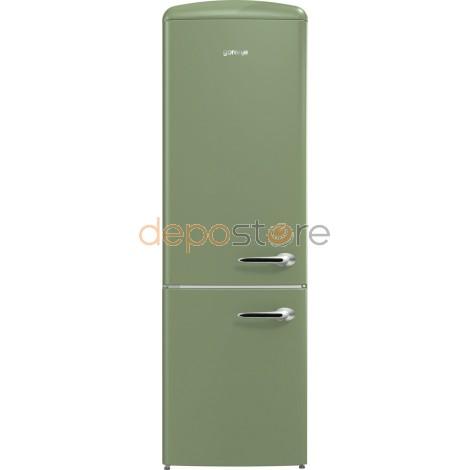 Gorenje ORK193OL-L, Retro hűtőszekrény, Olíva , 322 L, A+++ (Hűtők)