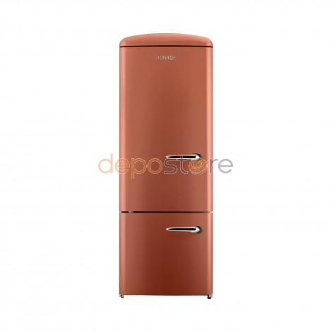 Gorenje RK60319OCR-L A++ kombinált, alul fagyasztós retró hűtőszekrény, terrakotta színben, balos