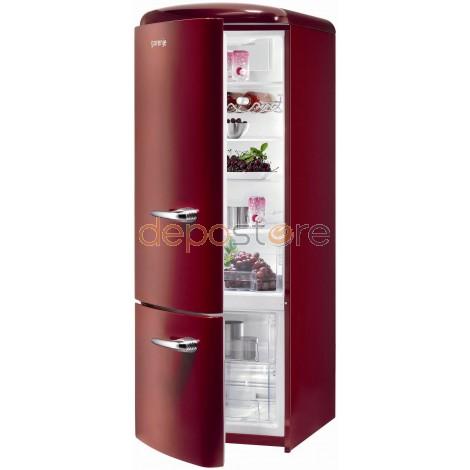 Gorenje RK60319OR-L A++ kombinált, alul fagyasztós retró hűtőszekrény, bordó színben
